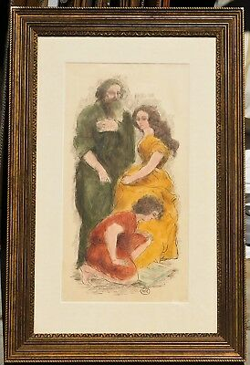 Vintage ink/watercolor mystery artist monogram MR, 21 x 11