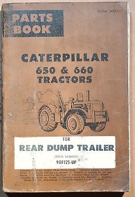 1963 Caterpillar 650 660 Tractors Parts Book Rear Dump Trailer 90f125-up B