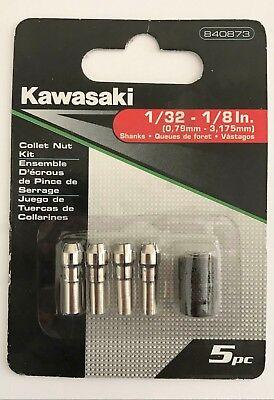 5 PC COLLET NUT KIT SET FITS DREMEL ROTARY TOOL 840873 KAWASAKI 1/8 3/32 1/16
