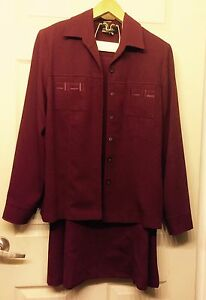 Holiday's Burgundy Skirt and Top Jacket Set Zoe Sz 16