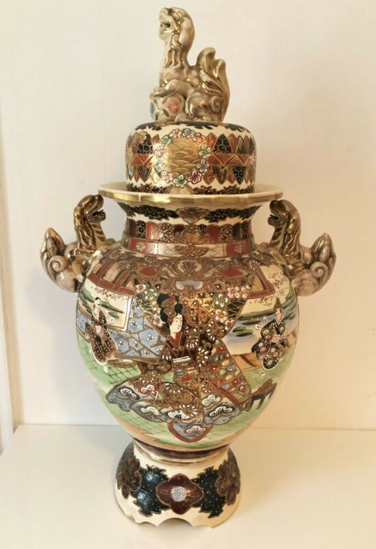 Japanese Decorative Pot - Hand Painted - Featuring Dragon Handles and Dragon Lid