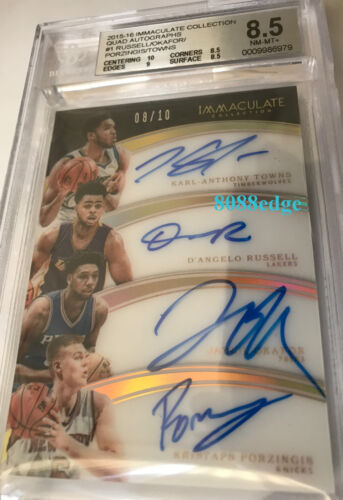 2015 Immaculate Rc Auto:karl-anthony Towns/porzingis/russell #8/10 Autograph Bgs