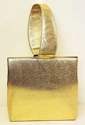 Vintage 1950s Gold Leather Handbag Bag Purse Fashion 50s 60s Retro Ladies Womens