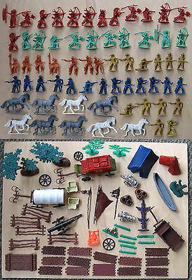 Vintage Lot 120+ pcs Plastic Cowboys Indians Horses Teepee Canoe Carriage Cannon