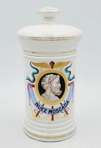 """1800s Porcelain C P Co Mehun France Nuez Moscada Apothecary Pharmacy Jar 10"""""""