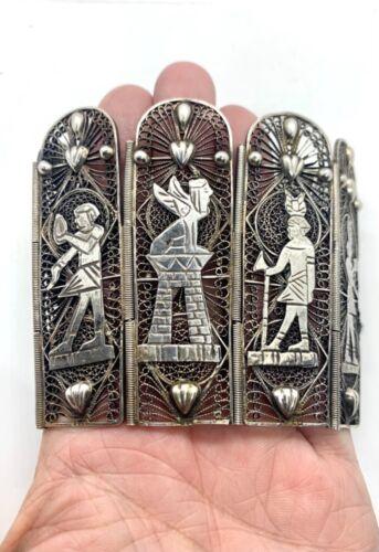 Antique Egyptian Revival Art Deco Sterling Silver Statement Panel Bracelet