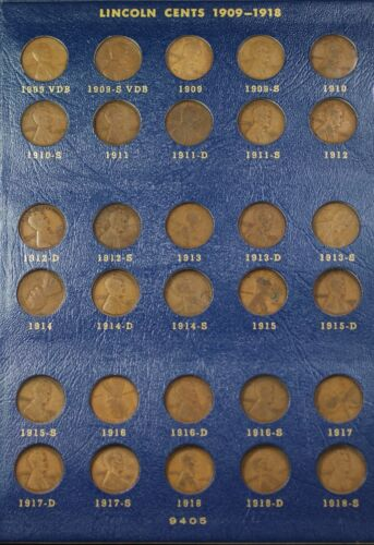 Whitman 9405 1909-1940 Lincoln Cents Complete 90 Coin Set W/ 22 Plain & 09-s Vdb