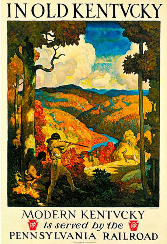 1930s In Old Kentucky Pennsylvania Railroad Travel Advertisement Art Poster