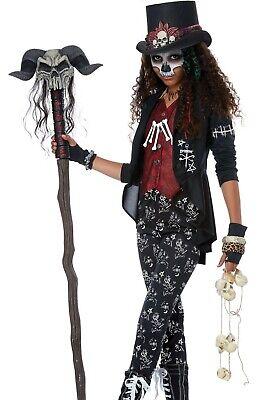 Wizard Girl Costume (Tween Girls Voodoo Charm Costume Voo Doo Witch Doctor Priestess Black)