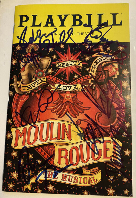 Aaron Tveit Moulin Rouge Cast Signed Autographed Broadway Playbill