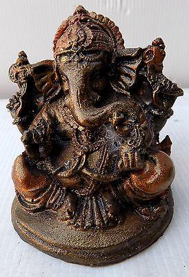 Small Ganesh Orange Bronze cm 8x7 Resin Indonesian Shiva Buddha Divinity