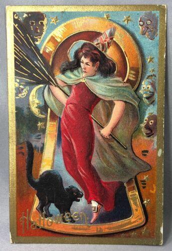 1910 HALLOWEEN Red Dress WITCH Black CAT Embossed Gilt Postcard ANTIQUE Original