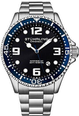 Stuhrling Men's Quartz Diver Silver Case Blue Bezel Black Dial Blue Accents