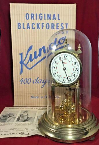 Vintage Kundo Black Forest 400 Day Anniversary Clock w Dome Box Paperwork Works