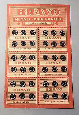 Alte Bravo Druckknöpfe Knöpfe Knopf für Puppenkleidung schwarz