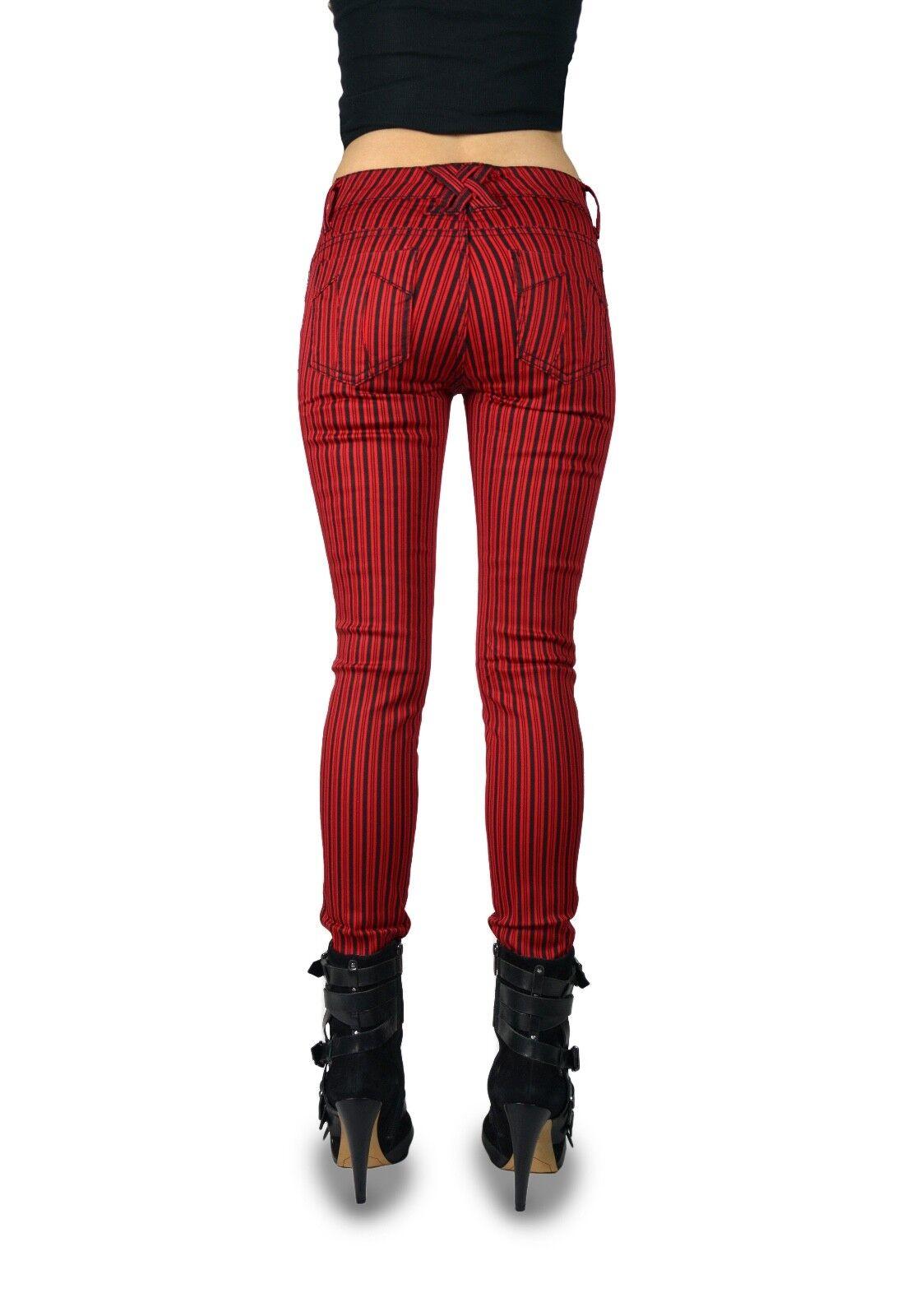 TRIPP BLACK RED RAILROAD STRIPE JEAN PANTS MOTO METAL SKINNY GOTH EMO IS6235P Clothing, Shoes & Accessories