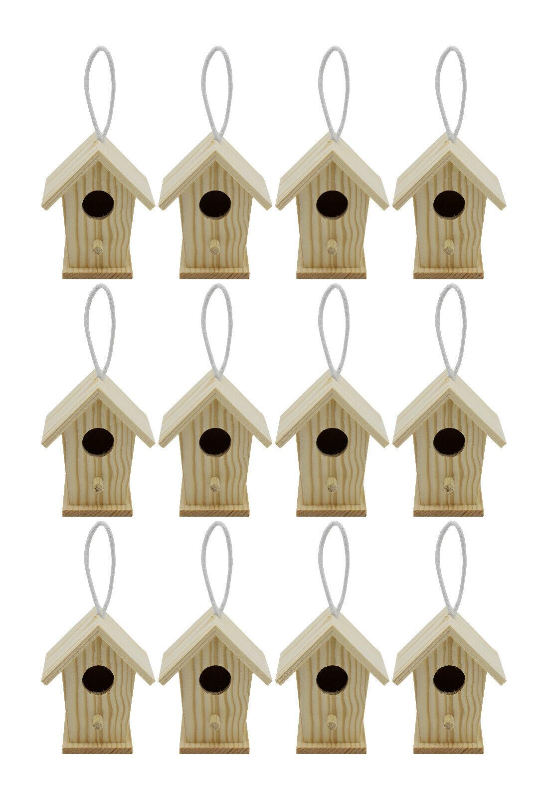 Creative Hobbies 12 Pack of Mini Wooden Bird Houses To Paint, Design Your Own Bird & Wildlife Accessories