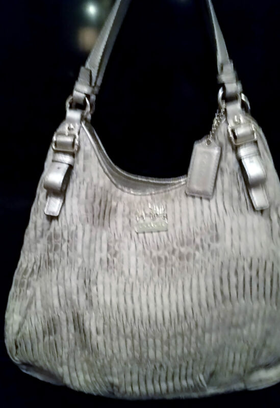 COACH MADISON GATHERED  SATIN GRAY SIGNATURE MAGGIE GRAY Purse  18886