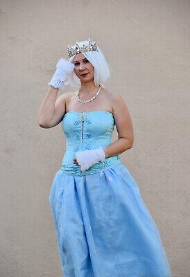 Snow Ice Princess Costume Adult Halloween Sz L Blue Skirt Top Elsa Frozen