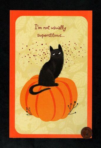 Halloween black  Cat Pumpkin Stars ORANGE SHINE LARGE Greeting Card  W/ TRACKING