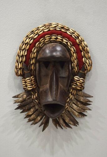 African Mask Dan Tribe Liberia Burnished Wood Cowrie Shells Dan Mask
