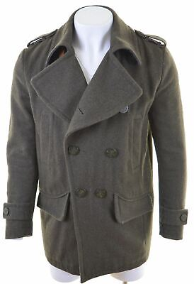 SUPERDRY Mens Double Breasted Coat Size 40 Large Green Wool  LH06