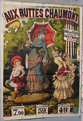 VINTAGE POSTER AU BUTTES CHAUMONTS FRENCH FASHION WOMEN AND CHILD circ 1890-1900