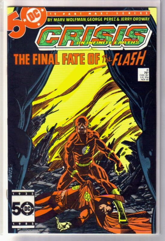 CRISIS on INFINITE EARTHS #8 Final Fate of the Flash! DC Comic Book ~ NM-