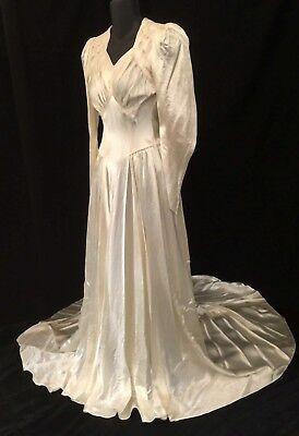 Vintage Ivory bias Satin Wedding Dress with long single cut Train Gatsby
