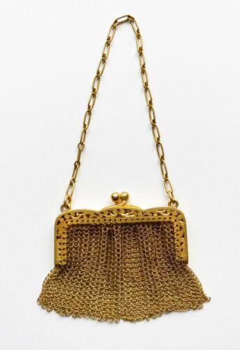Vintage 14kt Yellow Gold Mesh Purse C. 1920s