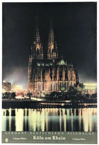"""KOLN AM RHEIN"" (1967) *GERMAN TRAVEL POSTER* Lufthansa Rhine *COLOGNE CATHEDRAL"