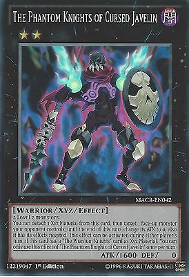 3X YU-GI-OH: THE PHANTOM KNIGHTS OF CURSED JAVELIN SUPER RARE MACR-EN042 1ST ED