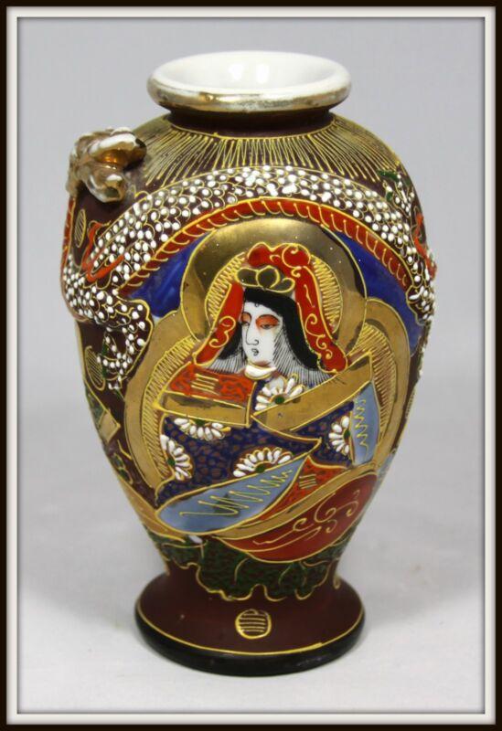 "Beautiful  ""Hand Crafted Japanese Satsuma Dragon Vase""  Exquisite Moriage"