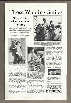 1927 Pepsodent Print Ad Advertisement Toothpaste Dentist Smiles with Coupon