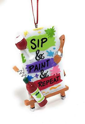 - Sip & Paint & Repeat Artist Wine Christmas Ornaments
