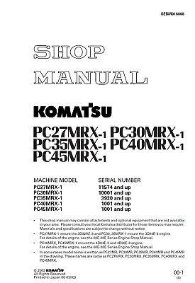 Komatsu Pc40mrx-1 Pc45mrx-1 Excavator Service Shop Manual In Binder