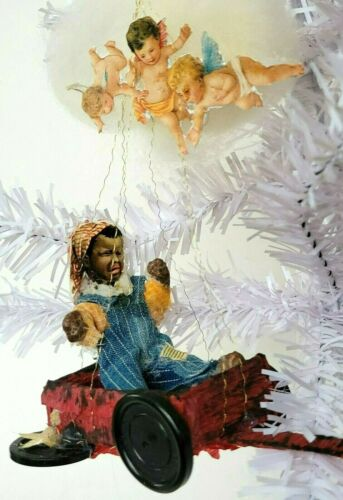 Christmas Ornament Cotton Batting Black Americana Child Cherub Antique/VTG Style