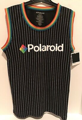 Polaroid Men's Basketball Jersey Tank Shirt Black Stripe Rainbow Medium