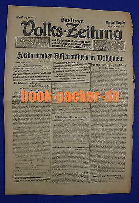BERLINER VOLKS=ZEITUNG (2.8.1916): Fortdauernder Russenanstrum in Wolhynien