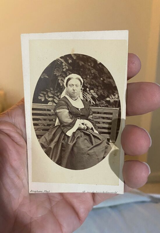 1860's CDV photo Queen Victoria of England rare front view on bench outside EXC