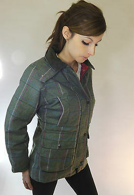 Tweed Jacket Ladies New Made In England Fitted Green Hot Pink 8 10 12 14 16 18 - Hot Pink Tweed