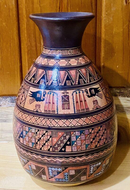 Large Peruvian Handmade Inca Style Vase Multi Colored Terracotta Unique Design