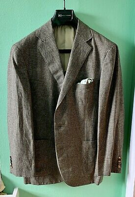 Caruso Green Brown Wool Silk Linen Shepherd Check Sport Coat 38 Italy Drakes