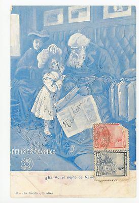 """Viejito de Navidad?"" Antique ARGENTINA Train Car Christmas PC Tarjeta Stamps"