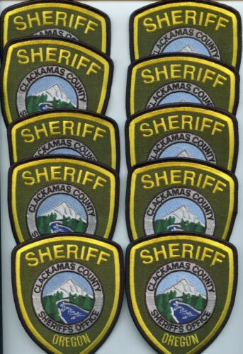 CLACKAMAS COUNTY OREGON Trade Stock 10 Police Patches SHERIFF POLICE PATCH