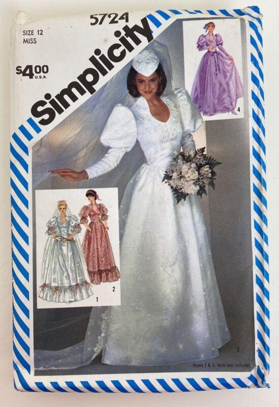 Vintage Simplicity Pattern 5724 Bridal Dress Size 12 Uncut 1982