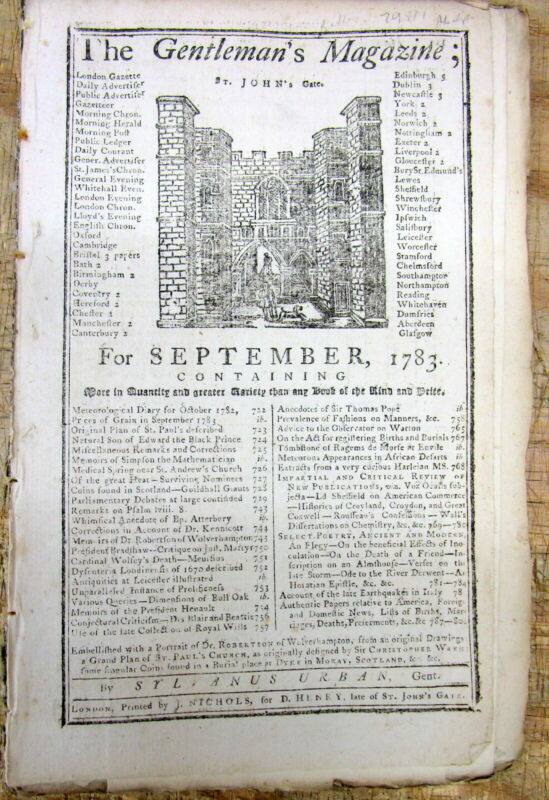 <1783 newspaper BEGINNING OF AVIATION Invention Hot Air Balloon MONTGOLFIER BROS