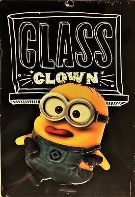 "NWT Metal Sign Despicable Me Minion Class Clown, 12""Tall x 8.25"" Wide"