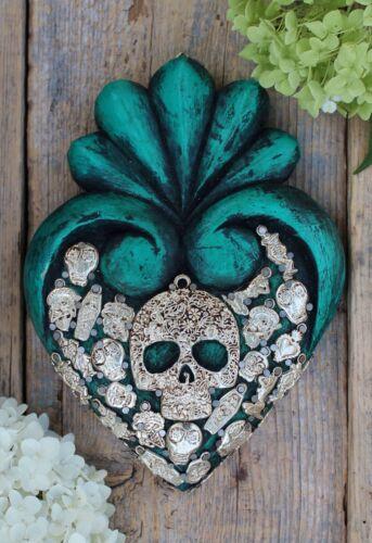 Day of the Dead Green Heart Skull Milagros Handmade Mexican Folk Art Michoacán