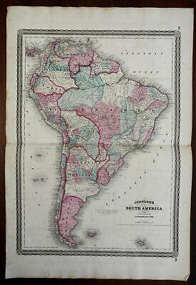 South America Brazil Peru Chile Argentina Venezuela 1866-79 A.J. Johnson map